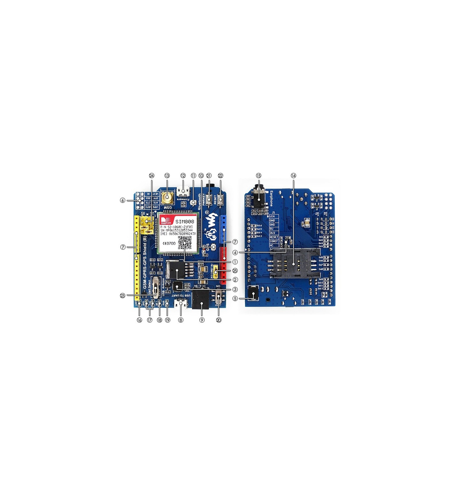 Arduino shield sim gsm gprs with gps diyelectronics