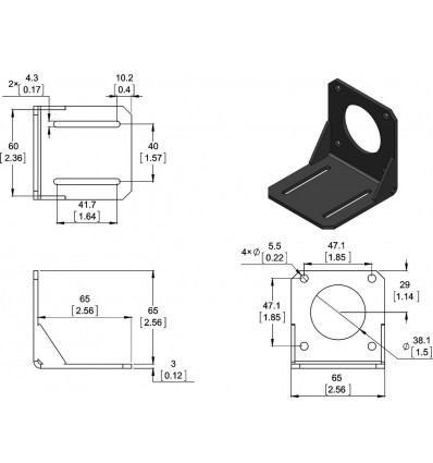 Stepper Motor Mounting Bracket - Nema 23 - Diagram