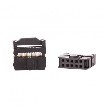 Ribbon Cable 10 Pin Socket - IDC Crimp with Strain Relief