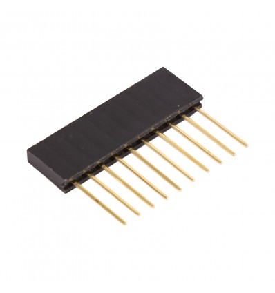 10 Pin 2.54mm Long SIL Pin Header - Male - Cover
